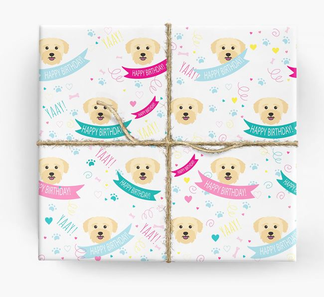 'Happy Birthday' Ribbon Wrapping Paper with Bichon Yorkie Icons