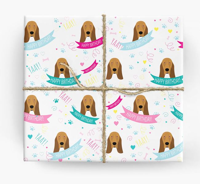 'Happy Birthday' Ribbon Wrapping Paper with Bloodhound Icons