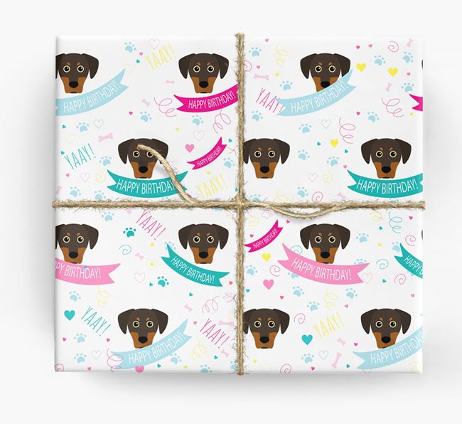 'Happy Birthday' Ribbon Wrapping Paper with Blue Lacy Icons