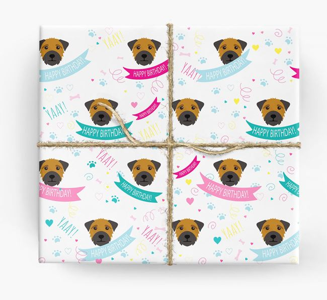 'Happy Birthday' Ribbon Wrapping Paper with Border Terrier Icons