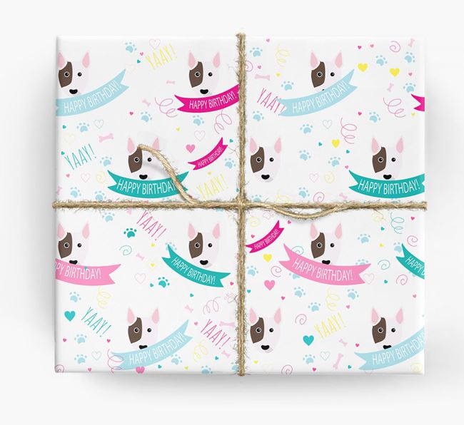 'Happy Birthday' Ribbon Wrapping Paper with Bull Terrier Icons