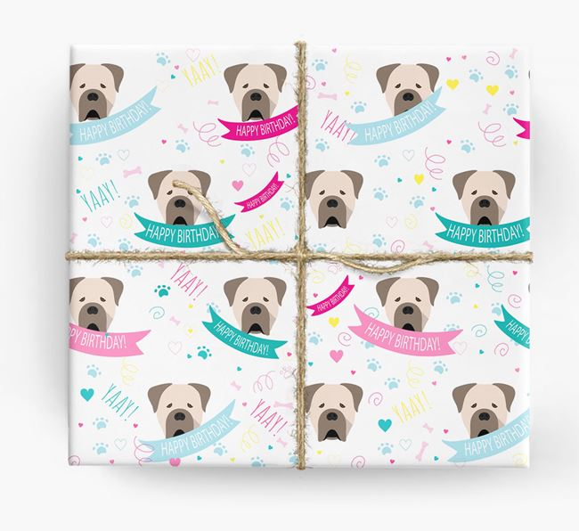 'Happy Birthday' Ribbon Wrapping Paper with Cane Corso Italiano Icons