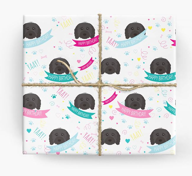 'Happy Birthday' Ribbon Wrapping Paper with Cavapoo Icons