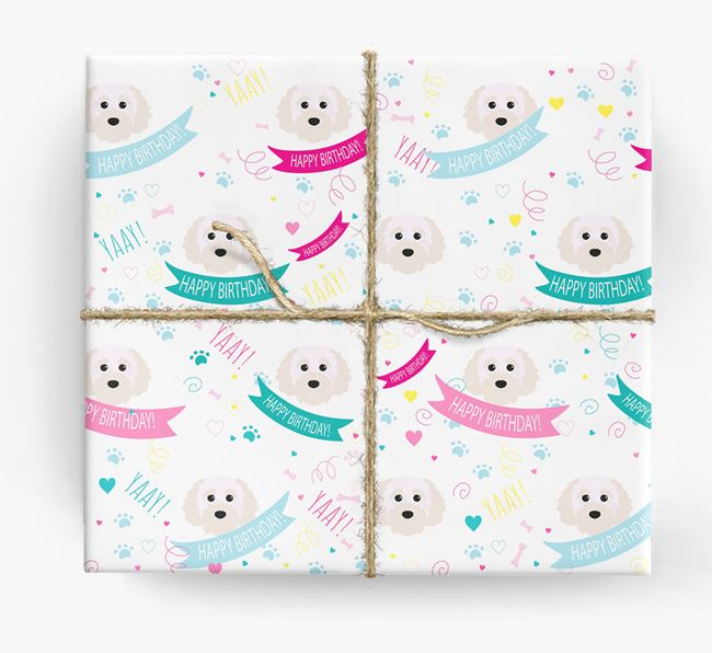 'Happy Birthday' Ribbon Wrapping Paper with Cavapoochon Icons