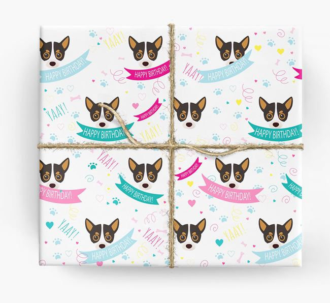 'Happy Birthday' Ribbon Wrapping Paper with Chihuahua Icons