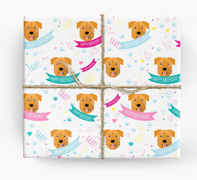 'Happy Birthday' Ribbon Wrapping Paper with Chinook Icons