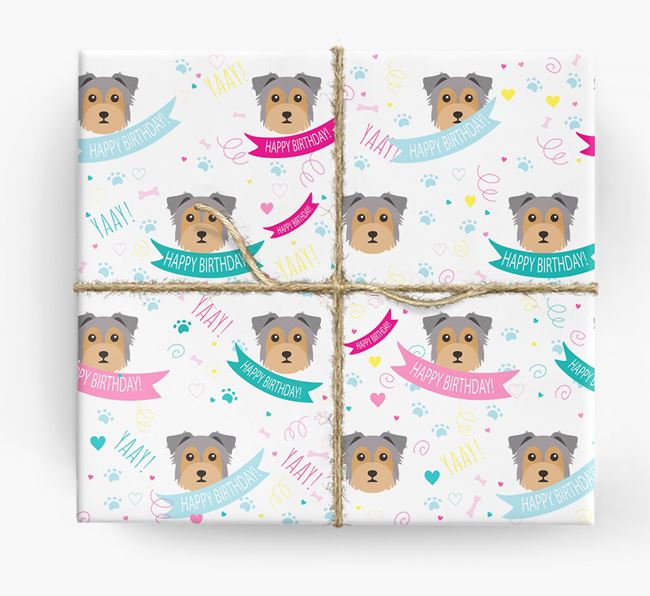 'Happy Birthday' Ribbon Wrapping Paper with Chorkie Icons