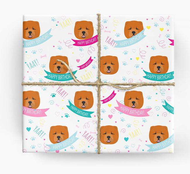 'Happy Birthday' Ribbon Wrapping Paper with Chow Chow Icons