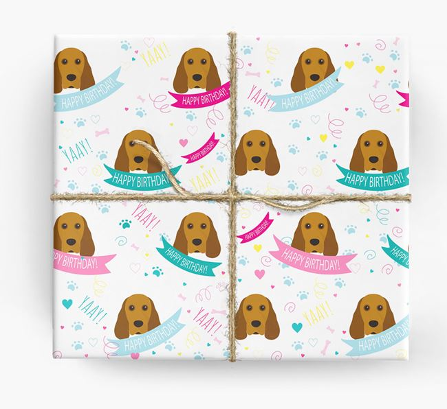 'Happy Birthday' Ribbon Wrapping Paper with Cocker Spaniel Icons