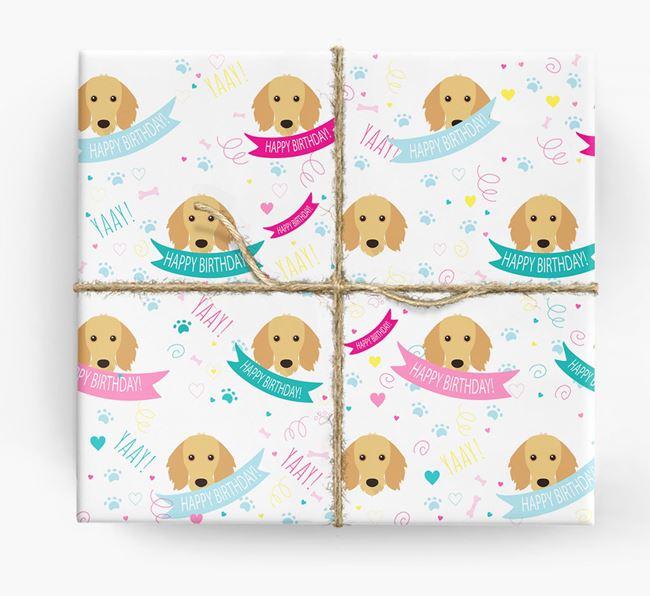 'Happy Birthday' Ribbon Wrapping Paper with Dachshund Icons