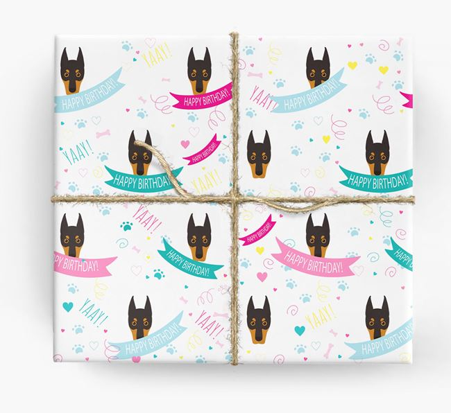 'Happy Birthday' Ribbon Wrapping Paper with Dobermann Icons