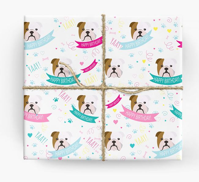 'Happy Birthday' Ribbon Wrapping Paper with English Bulldog Icons