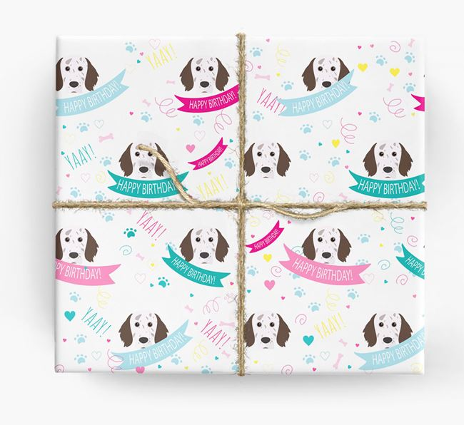 'Happy Birthday' Ribbon Wrapping Paper with English Setter Icons
