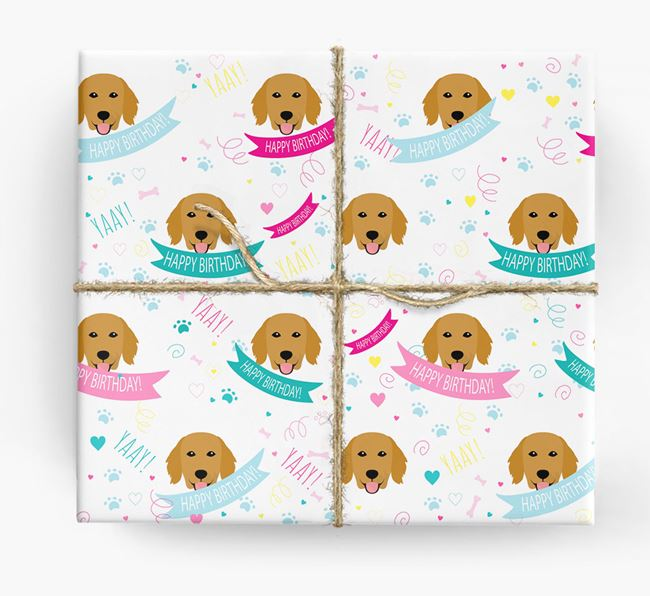 'Happy Birthday' Ribbon Wrapping Paper with Flat-Coated Retriever Icons