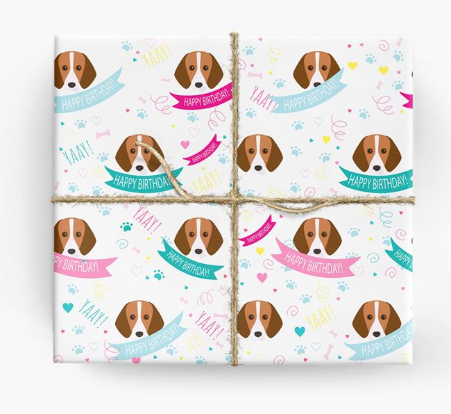 'Happy Birthday' Ribbon Wrapping Paper with Foxhound Icons