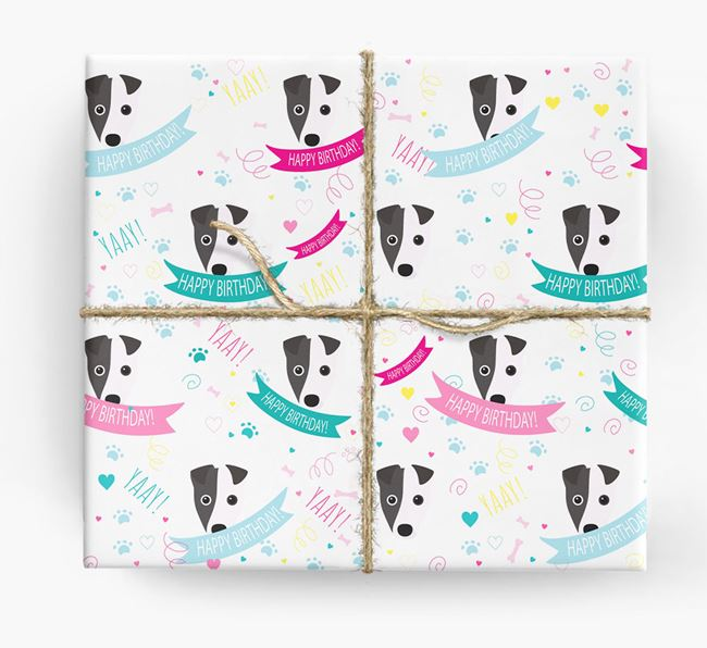 'Happy Birthday' Ribbon Wrapping Paper with Fox Terrier Icons