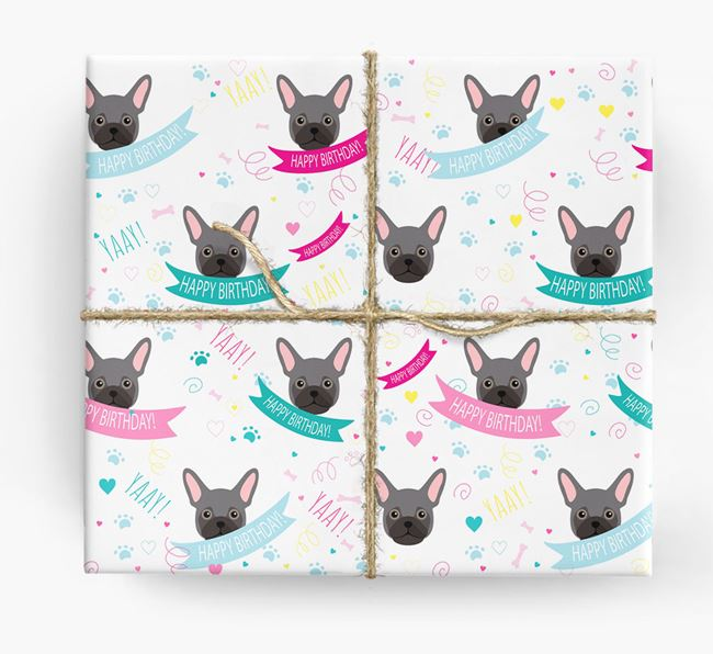 'Happy Birthday' Ribbon Wrapping Paper with Frug Icons