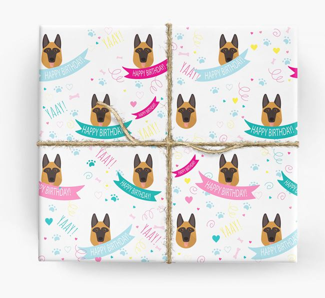 'Happy Birthday' Ribbon Wrapping Paper with German Shepherd Icons