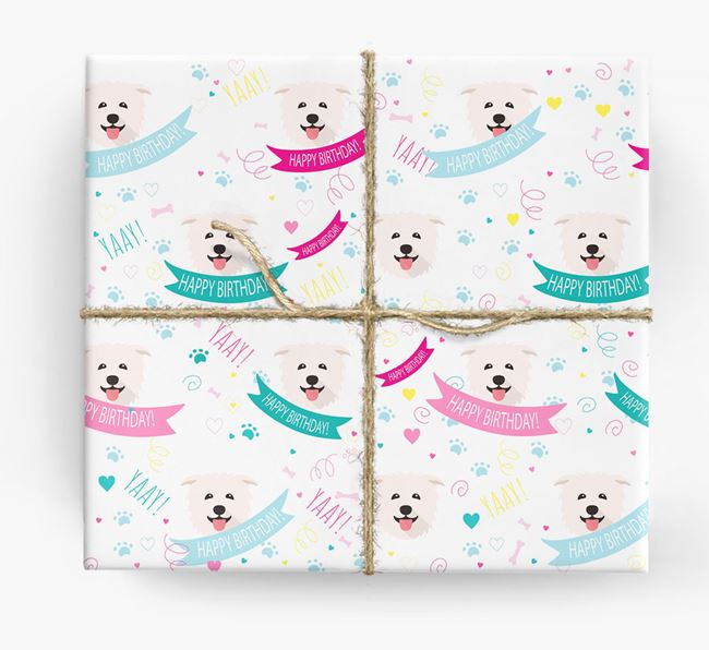 'Happy Birthday' Ribbon Wrapping Paper with Glen Of Imaal Terrier Icons