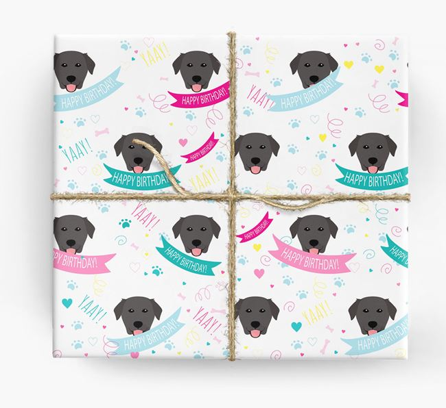'Happy Birthday' Ribbon Wrapping Paper with Golden Labrador Icons