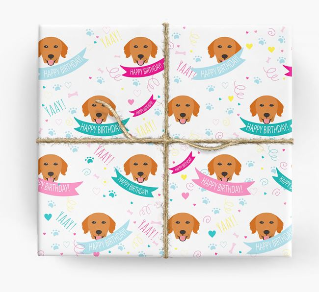 'Happy Birthday' Ribbon Wrapping Paper with Golden Retriever Icons