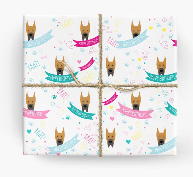 'Happy Birthday' Ribbon Wrapping Paper with Great Dane Icons