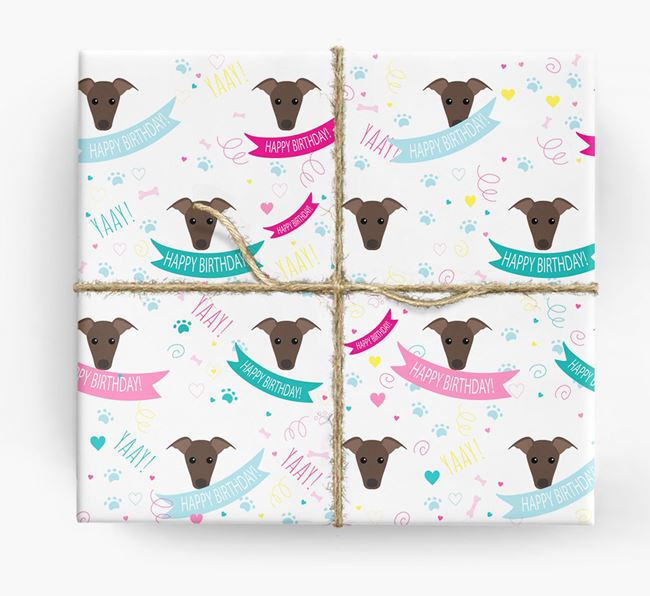 'Happy Birthday' Ribbon Wrapping Paper with Greyhound Icons