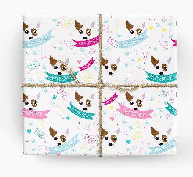 'Happy Birthday' Ribbon Wrapping Paper with Jackahuahua Icons