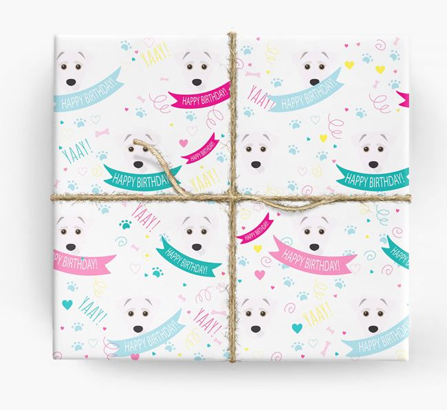 'Happy Birthday' Ribbon Wrapping Paper with Jack-A-Poo Icons