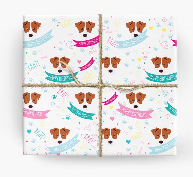 'Happy Birthday' Ribbon Wrapping Paper with Jack Russell Terrier Icons