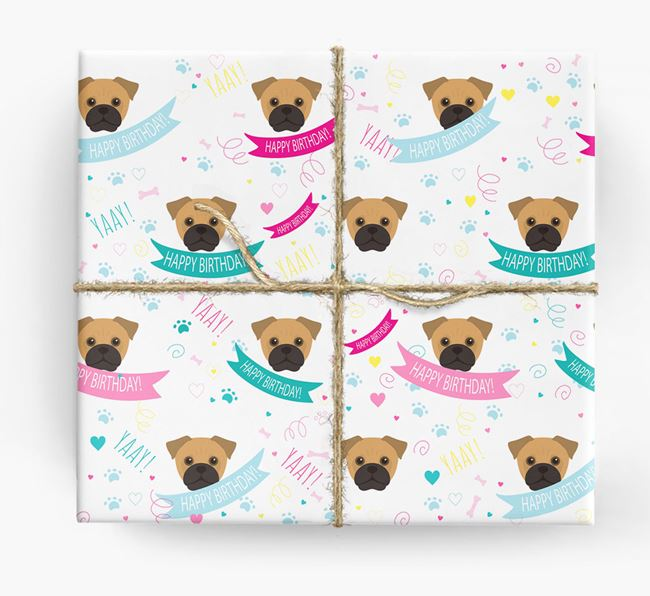 'Happy Birthday' Ribbon Wrapping Paper with Jug Icons