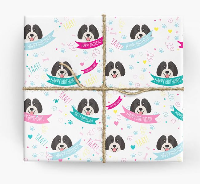 'Happy Birthday' Ribbon Wrapping Paper with Labradoodle Icons