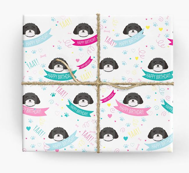 'Happy Birthday' Ribbon Wrapping Paper with Lhasa Apso Icons