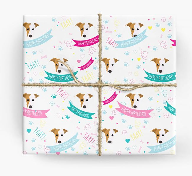 'Happy Birthday' Ribbon Wrapping Paper with Lurcher Icons