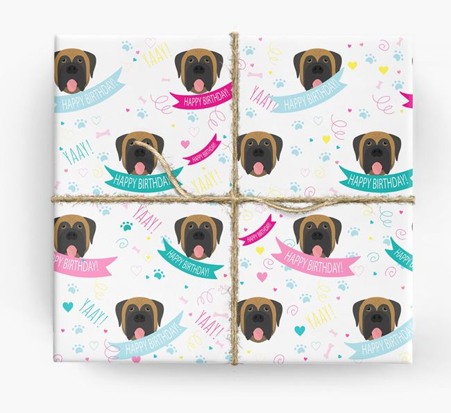 'Happy Birthday' Ribbon Wrapping Paper with Mastiff Icons