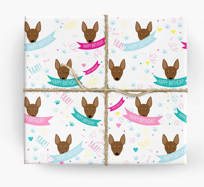 'Happy Birthday' Ribbon Wrapping Paper with Miniature Pinscher Icons