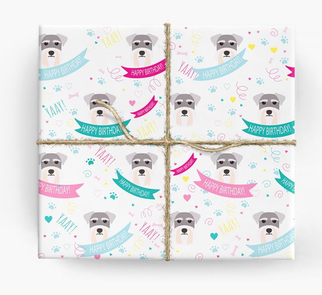 'Happy Birthday' Ribbon Wrapping Paper with Miniature Schnauzer Icons