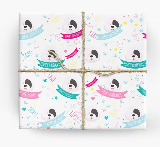 'Happy Birthday' Ribbon Wrapping Paper with Old English Sheepdog Icons