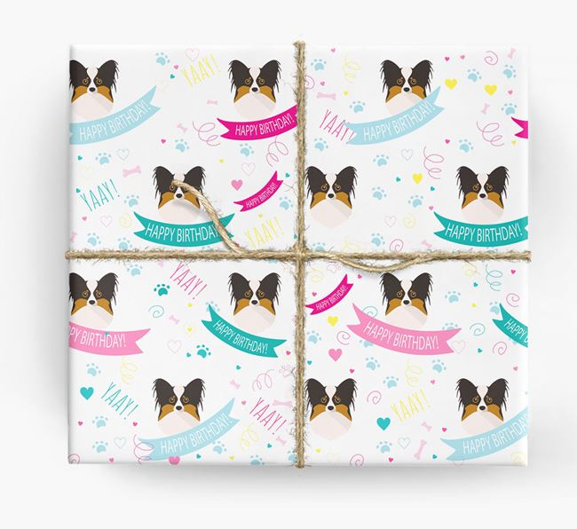 'Happy Birthday' Ribbon Wrapping Paper with Papillon Icons