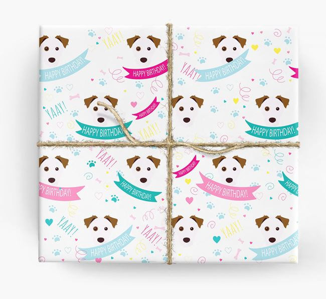 'Happy Birthday' Ribbon Wrapping Paper with Parson Russell Terrier Icons