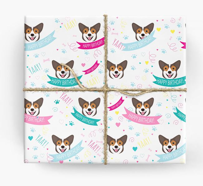 'Happy Birthday' Ribbon Wrapping Paper with Pembroke Welsh Corgi Icons