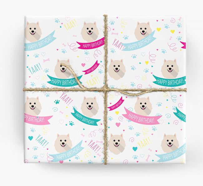 'Happy Birthday' Ribbon Wrapping Paper with Pomeranian Icons