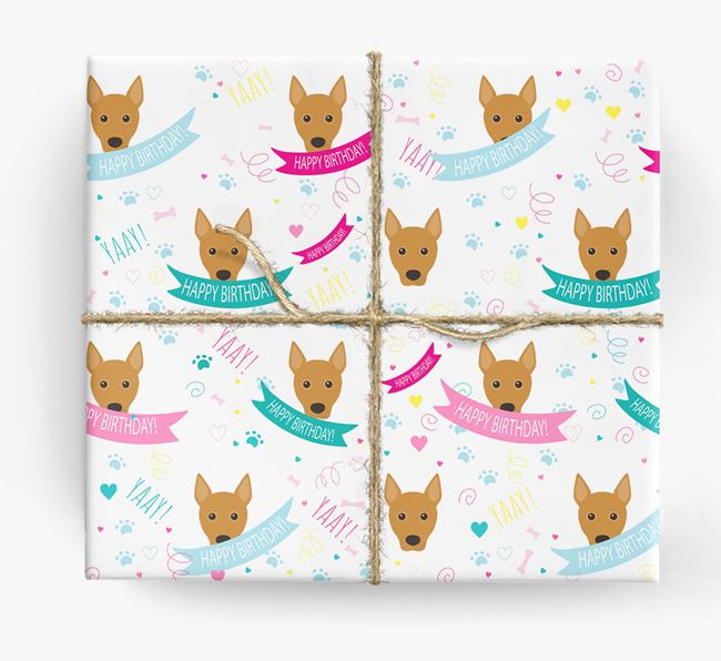 'Happy Birthday' Ribbon Wrapping Paper with Portuguese Podengo Icons