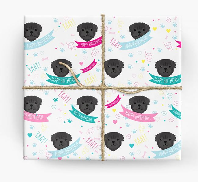 'Happy Birthday' Ribbon Wrapping Paper with Pug Icons