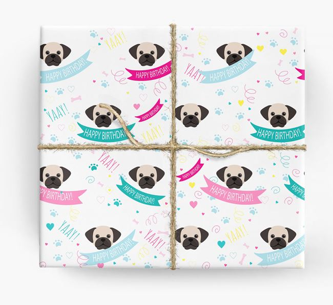 'Happy Birthday' Ribbon Wrapping Paper with Puggle Icons
