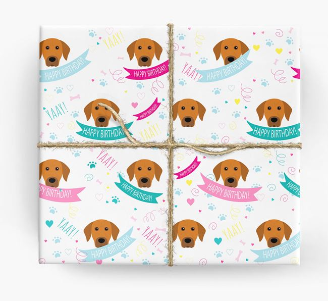 'Happy Birthday' Ribbon Wrapping Paper with Rhodesian Ridgeback Icons