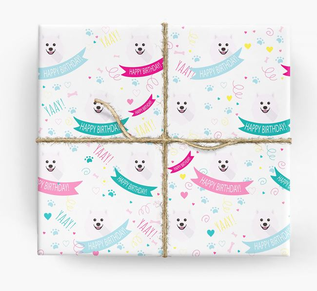 'Happy Birthday' Ribbon Wrapping Paper with Samoyed Icons