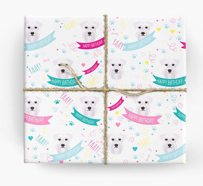 'Happy Birthday' Ribbon Wrapping Paper with Schnauzer Icons