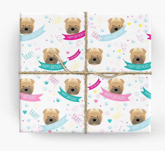 'Happy Birthday' Ribbon Wrapping Paper with Shar Pei Icons