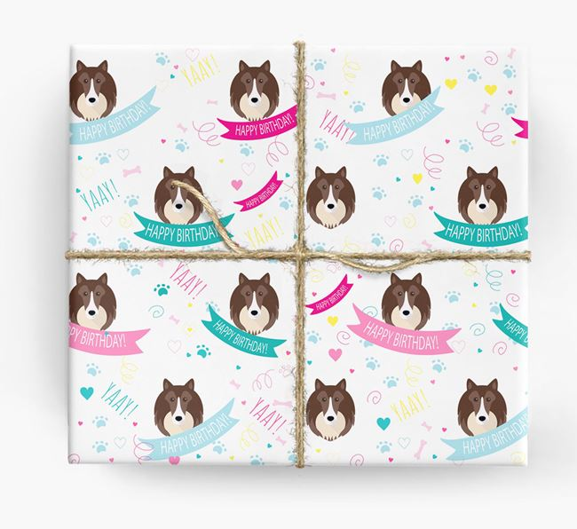 'Happy Birthday' Ribbon Wrapping Paper with Shetland Sheepdog Icons